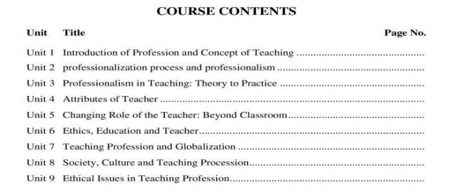 AIOU-B.Ed-Code-8612-Book-contents-page
