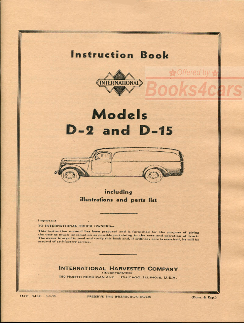 hight resolution of 37 40 model d 2 d 15 owners manual by international truck d2 d15 38 int3462 not a shop manual