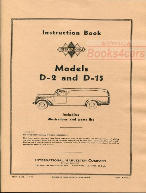 small resolution of 37 40 model d 2 d 15 owners manual by international truck d2 d15 38 int3462 not a shop manual