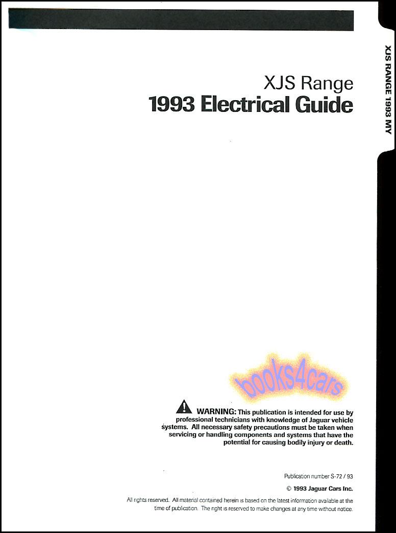 1995 Jaguar Xj6 Xj12 Electrical Guide Wiring Diagram Original