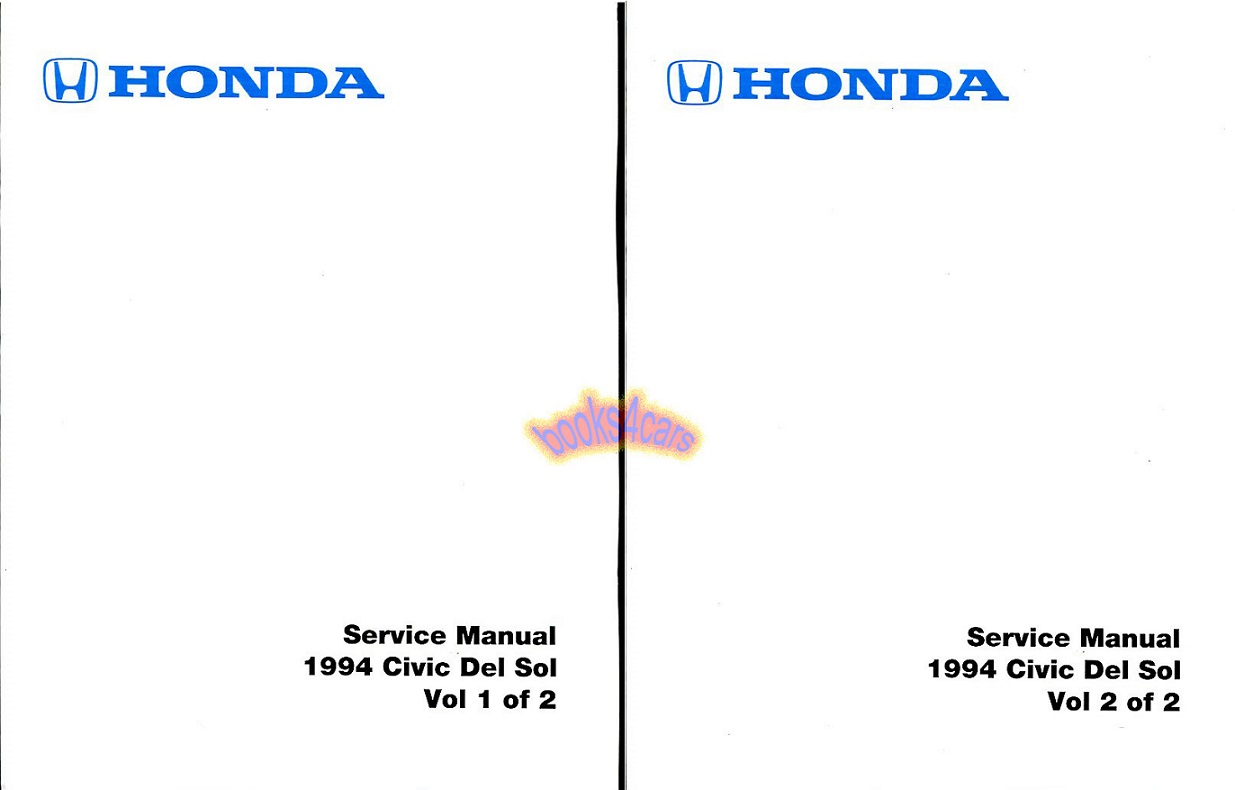 SHOP MANUAL 1994 HONDA DEL SOL CIVIC SERVICE REPAIR BOOK