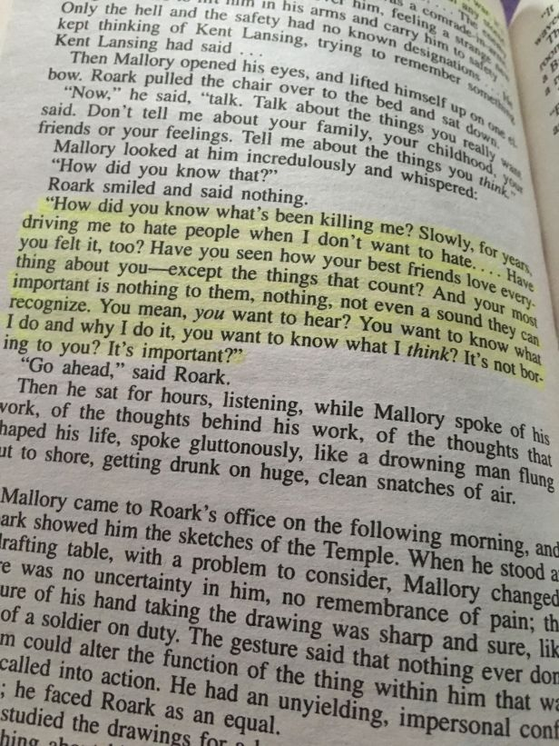 Mallory's conversation with Roark in The Fountainhead by Ayn Rand