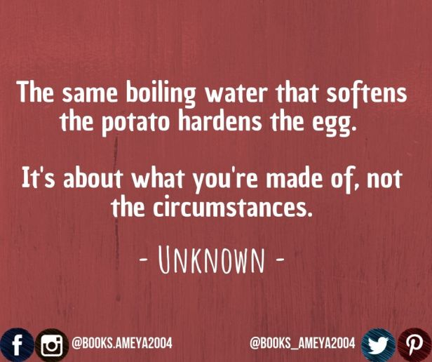 'The same boiling water that softens the potato hardens the egg. It's about what you're made of, not the circumstances.' ~ Unknown