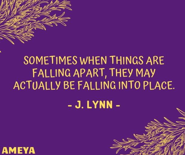 Sometimes when things are falling apart, they may actually be falling into place. - J. Lynn