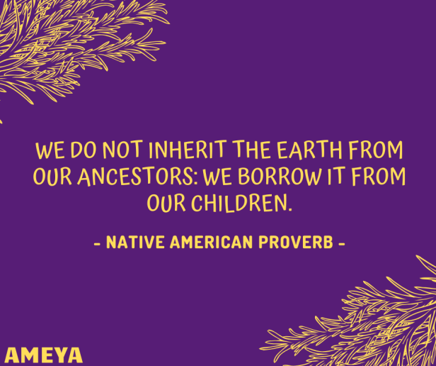 We do not inherit the earth from our ancestors: we borrow it from our children. – Native American Proverb