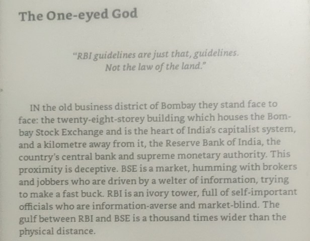'RBI guidelines are just that, guidelines. Not th law of the land.' - A quote from The Scam by Debashis Basu and Sucheta Dalal
