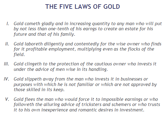 The Five Laws of Gold from the Richest Man in Babylon by George Samuel Clason