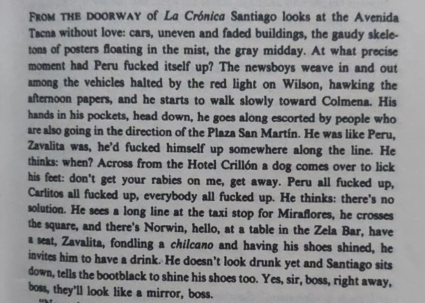 An excerpt from Mario Vargas Llosa's Conversation in the Cathedral