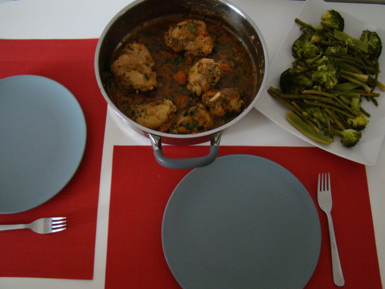 Chicken Stew with Steamed Greens