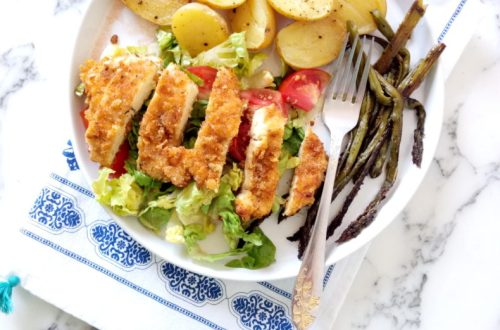 Cornflakes Crusted Chicken with Asparagus and Potatoes