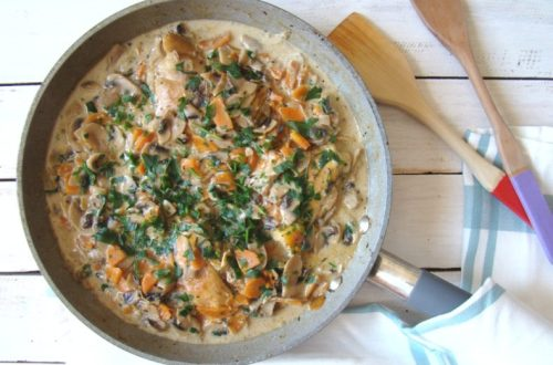 Chicken Thighs with Creamy Mushroom Thyme Sauce | booksandlavender.com