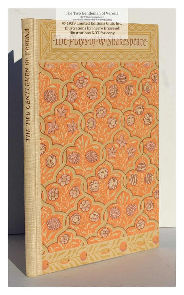 The Two Gentleman of Verona, Limited Editions Club , Spine and Cover