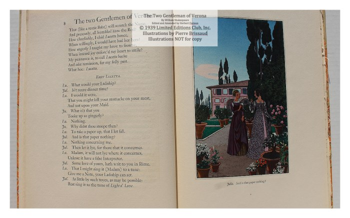 The Two Gentleman of Verona, Limited Editions Club, Sample Illustration #1 with Text