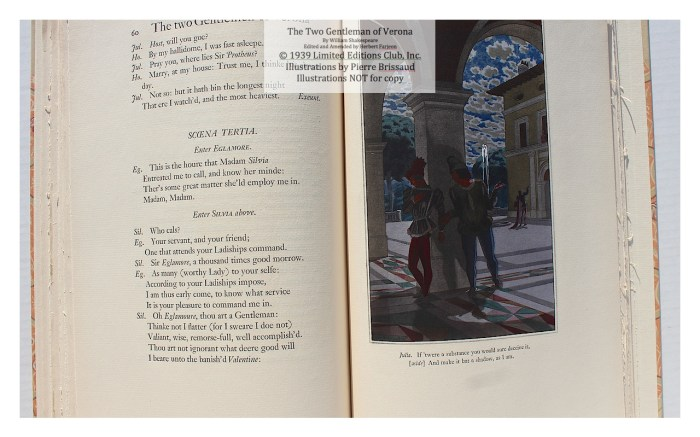 Two Gentleman of Verona, Limited Editions Club, Sample Illustration #4 with Text