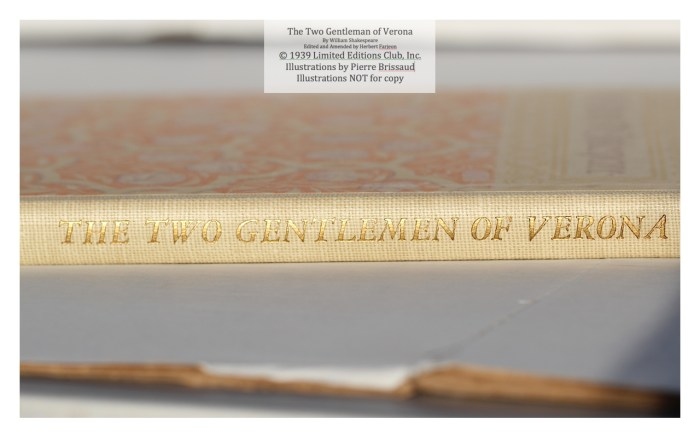 The Two Gentleman of Verona, Limited Editions Club , Macro of Spine