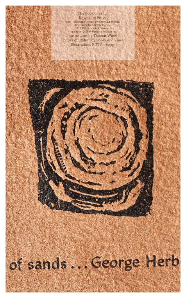The Book of Sand, Nawakum Press, Macro of Etching on Hand-made Paper Overlay