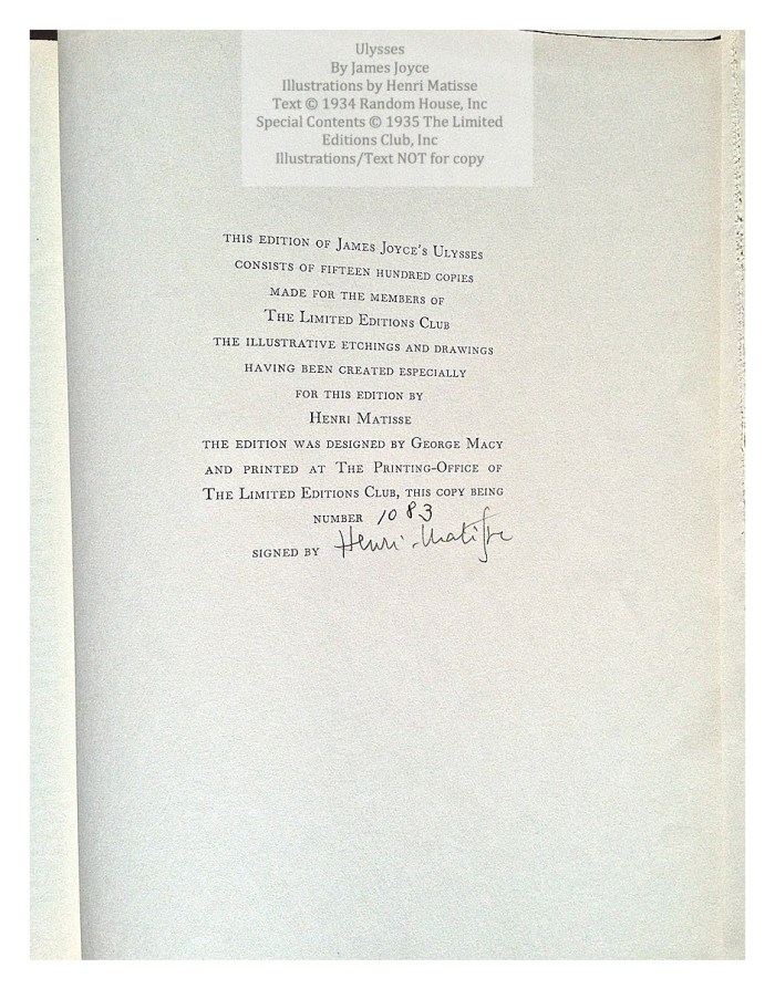 Ulysses, Limited Editions Club, Colophon