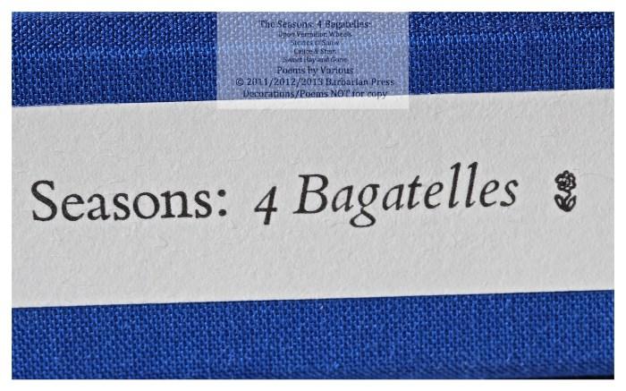 The Seasons: Four Bagatelles, Solander Box Spine, Barbarian Press