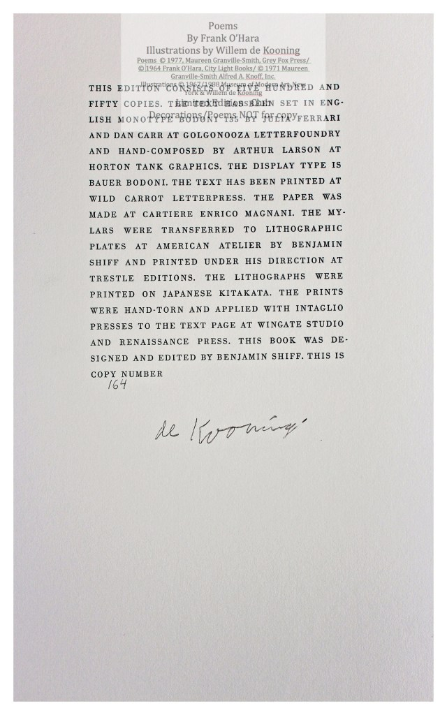 Poems of Frank O'Hara, Colophon, Limited Editions Club