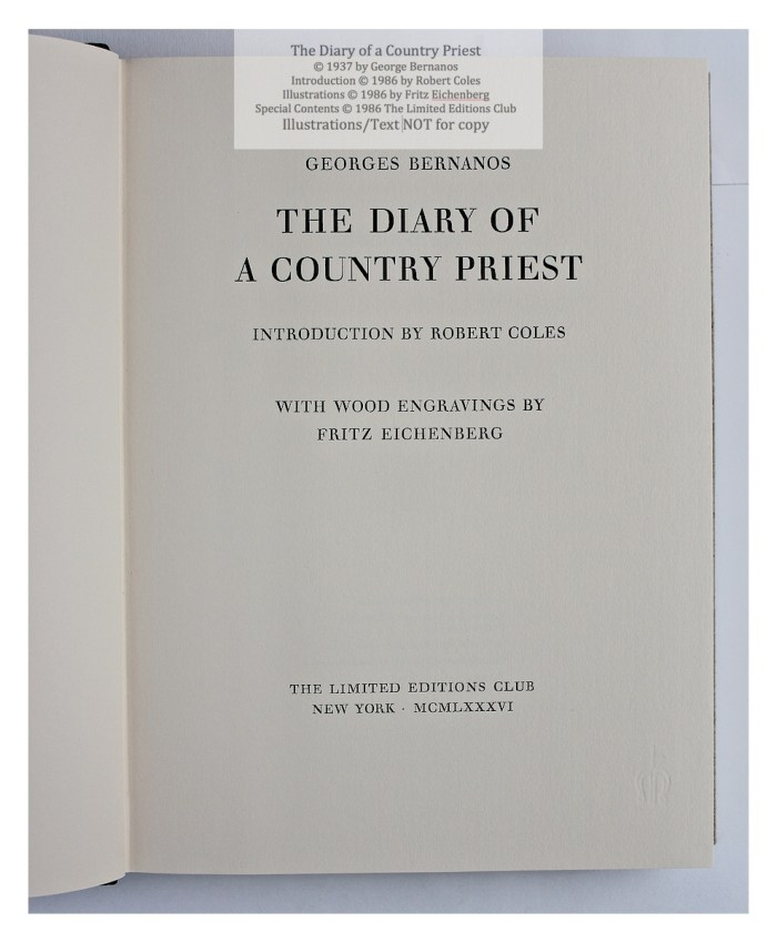 The Diary of a Country Priest, Limited Editions Club, Title Page