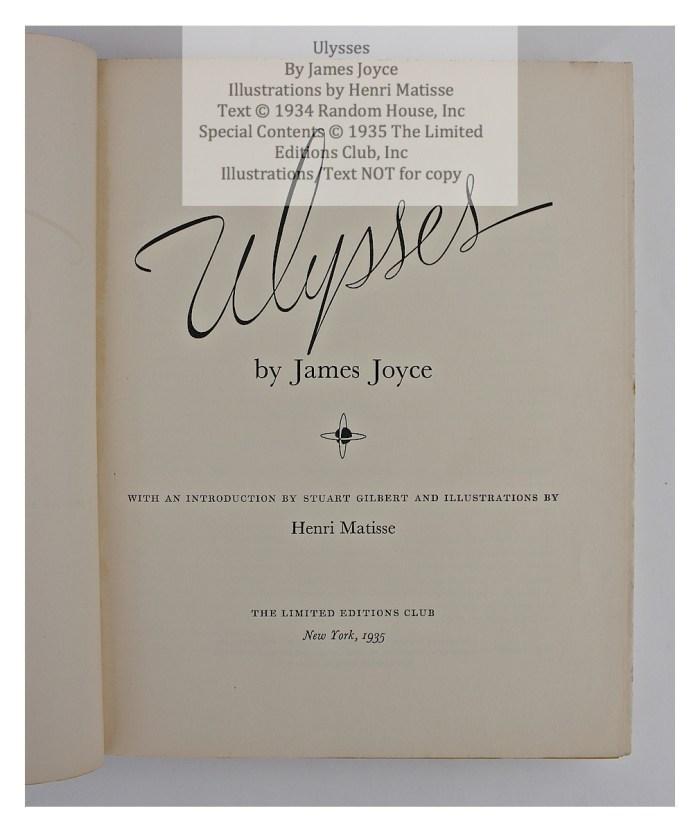 Ulysses, Limited Editions Club, Title Page