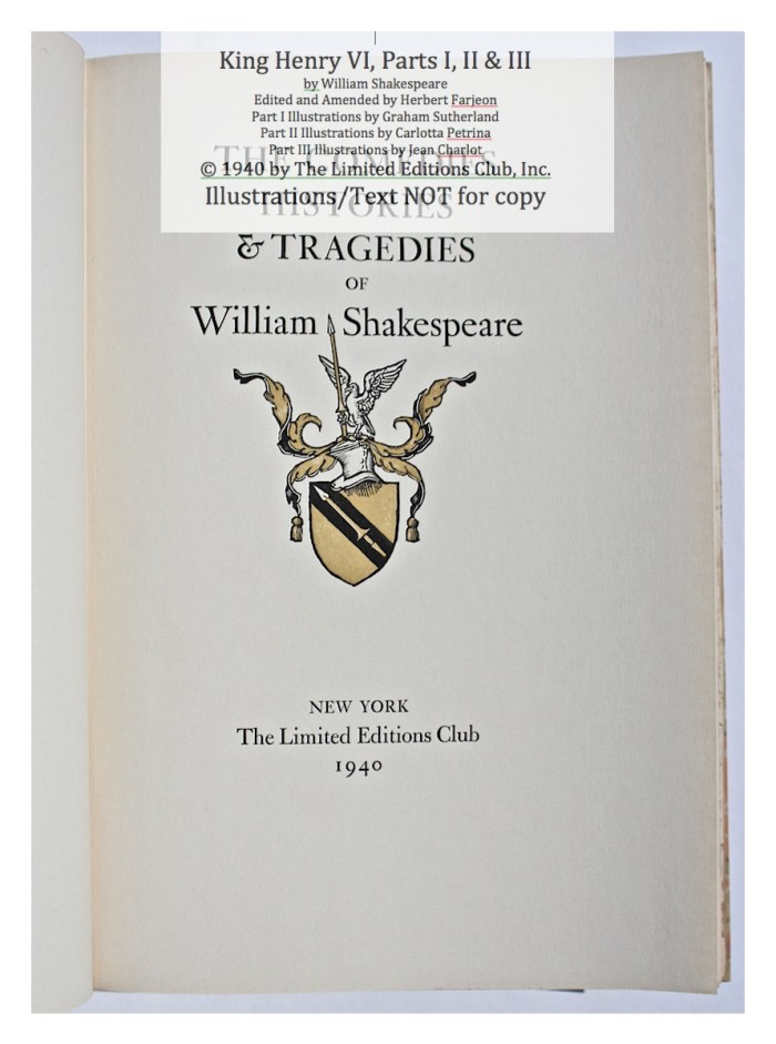 Limited Editions Club, Series Title Page