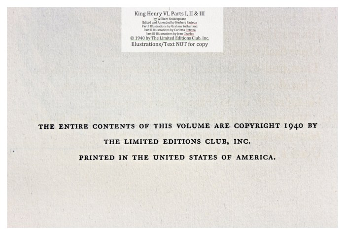 King Henry VI, Part I, Limited Editions Club, Copyright Page for Series