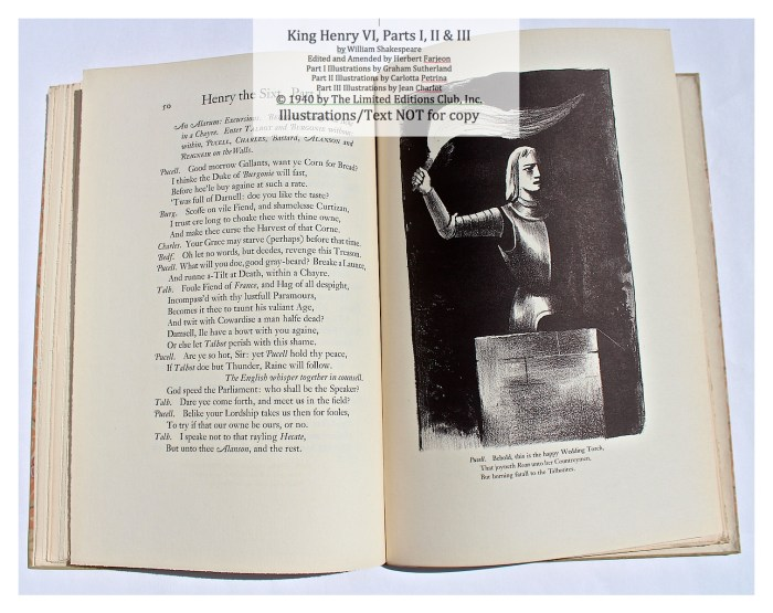 King Henry VI, Part I, Limited Editions Club, Sample Illustration #2 with text