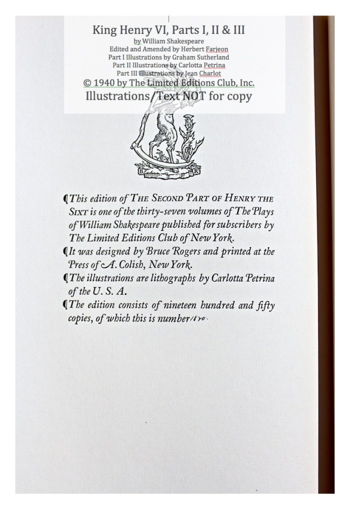 King Henry VI, Part II, Limited Editions Club, Colophon