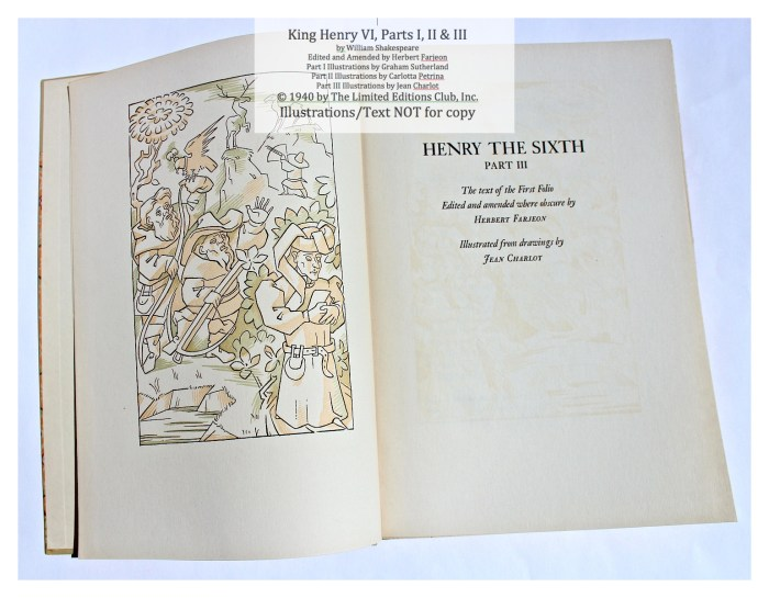 King Henry VI, Part III, Limited Editions Club, Title Page and Frontispiece