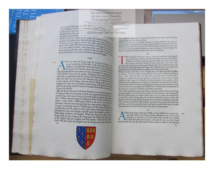 The History of Saint Louis, The Gregynog Press, Sample Text and Decoration #5