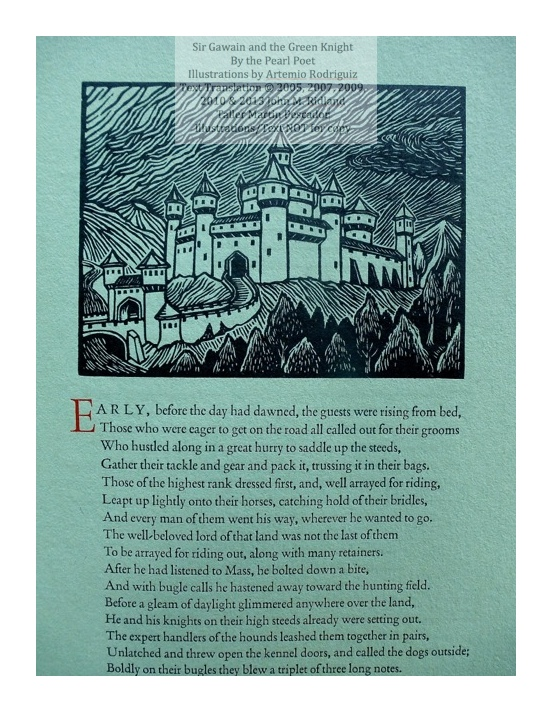 Sir Gawain and the Green Knight, Taller Martin Pescador, Sample Text with Illustration #1