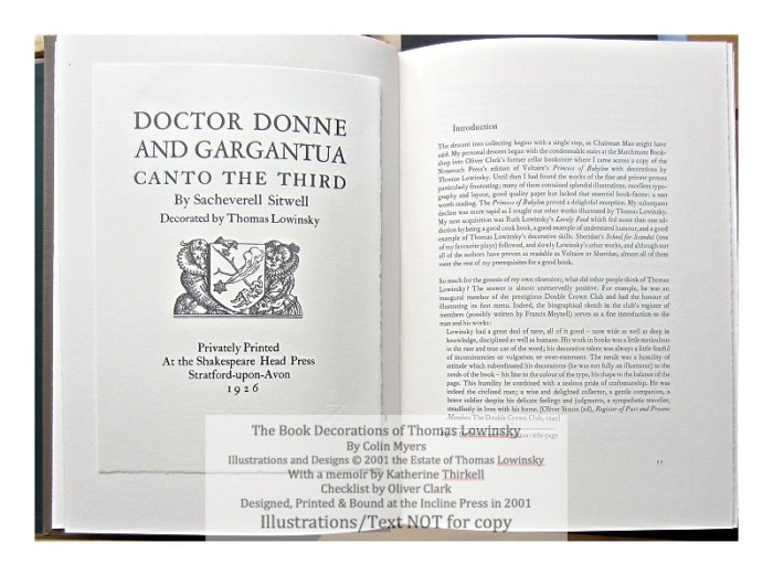 The Book Decorations of Thomas Lowinsky, Incline Press, Sample #1