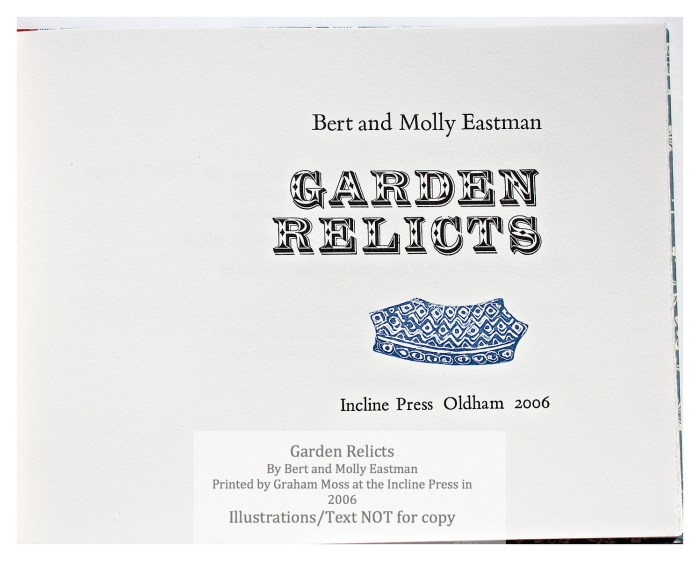 Garden Relicts, Incline Press, Title Page