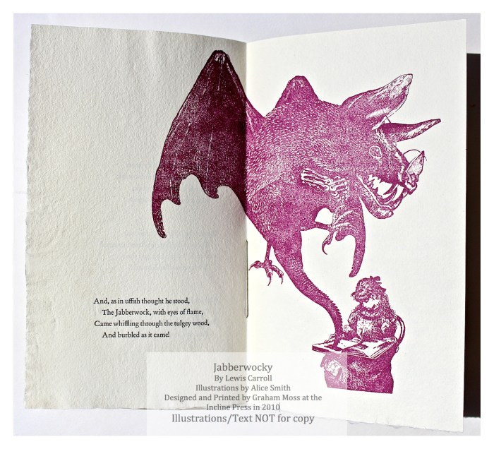 Jabberwocky, Incline Press, Sample Text and Illustration