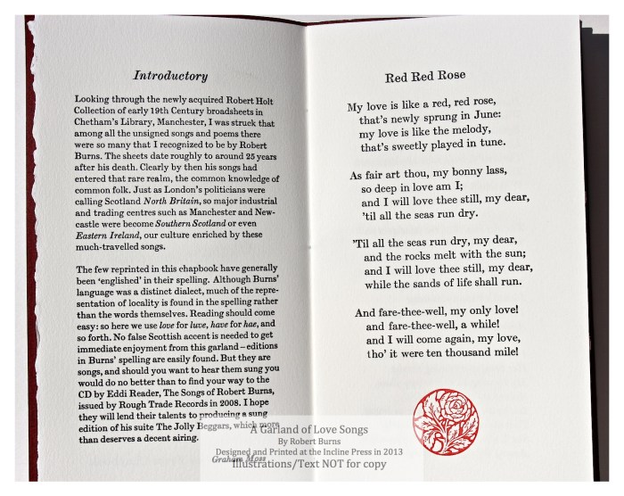A Garland of Love Songs, Incline Press, Sample Text and Decoration