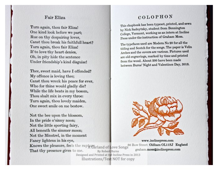 A Garland of Love Songs, Incline Press, Sample Text and Colophon