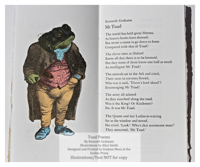Toad Poems, Incline Press, Sample Illustration #1 with text