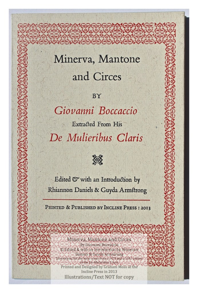Minerva, Mantone and Circes, Incline Press, Cover