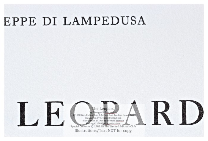 The Leopard, Limited Editions Club, Macro of Title Page