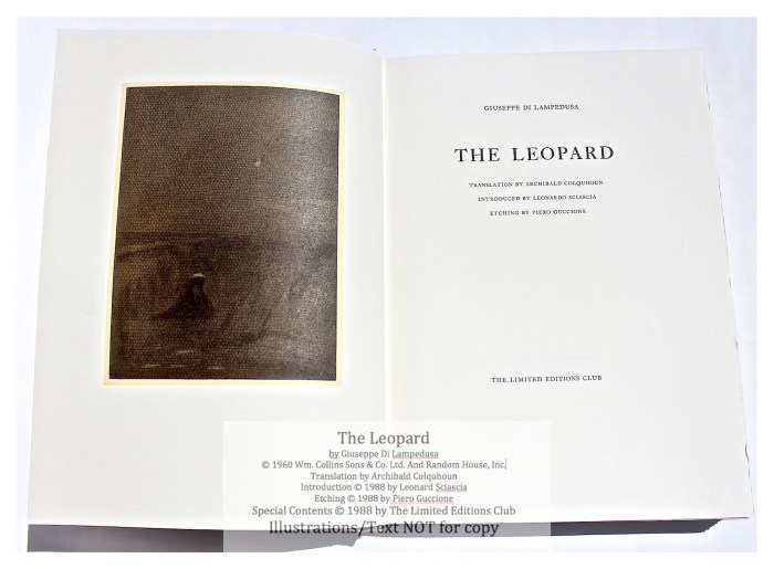 The Leopard, Limited Editions Club, Frontispiece and Title Page