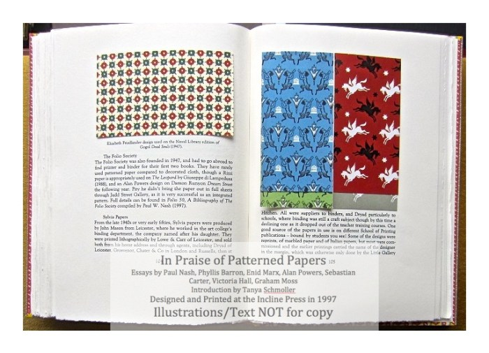 In Praise of Patterned Papers, Incline Press, Sample Papers #5 and text