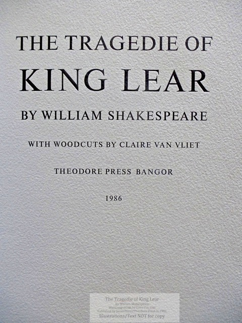 The Tragedie of King Lear, Janus Press/Theodore Press, Title Page