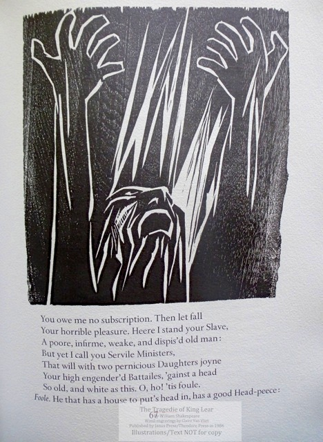 The Tragedie of King Lear, Janus Press/Theodore Press, Sample Illustration #8: King Lear braving the raging storm