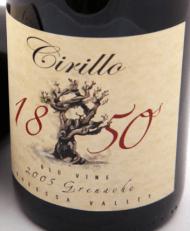 Cirillo 1850 Old Vine Grenache (label from 2005 vintage)
