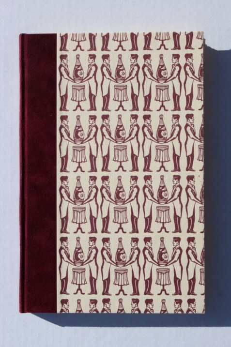 The Importance of Being Earnest, Hand set in Bembo roman, with stage directions composed in Fairbank italic by the Bixler letterfoundry. Printed on Somerset Book Soft White Wove. Quarter bound in burgundy velour with pattern-printed covers and Bugra endsheets. Ten engravings by Jarrett Morrison. $300 CAD. (Bowler Press)