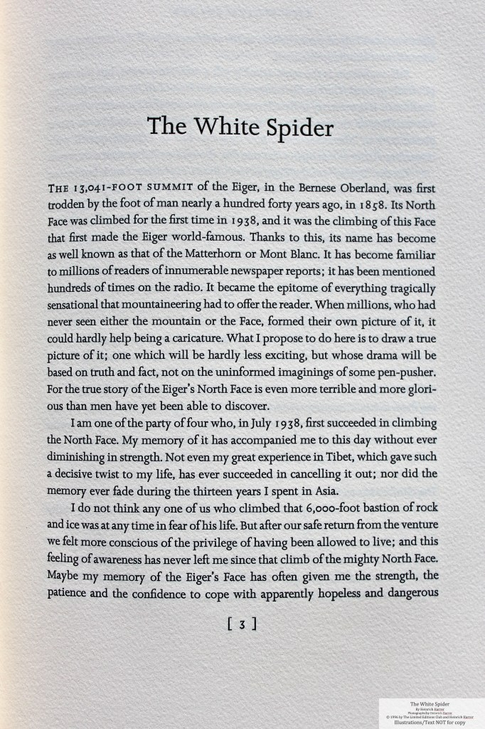 The White Spider, Limited Editions Club, Sample Text #1