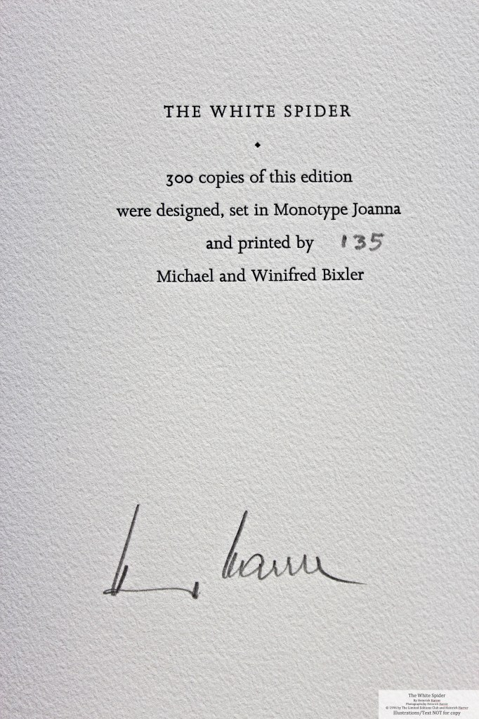 The White Spider, Limited Editions Club, Colophon