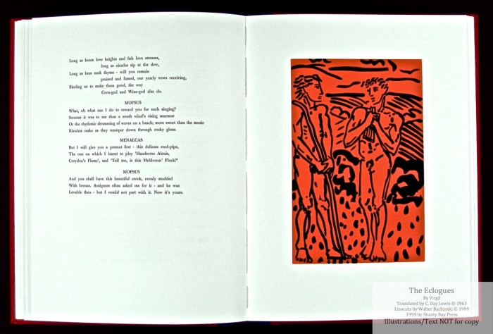 Eclogues, Shanty Bay Press, Sample Linocut #7 and Text