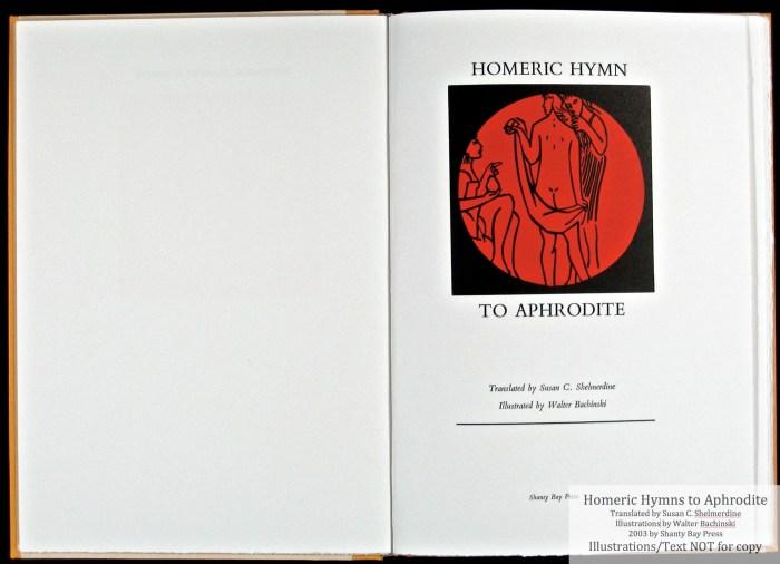 Homeric Hymn to Aphrodite, Shanty Bay Press, Title Page